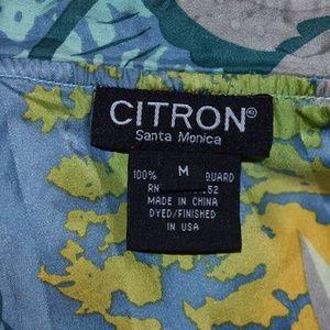 Citron Tops - Citron Silk Floral Print Button Front Blouse
